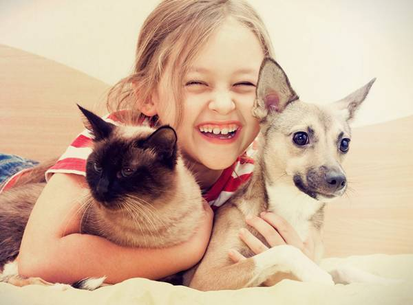 menina com gato e cachorro