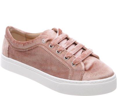tenis veludo rosa