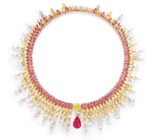 Colar em ouro branco, espinala da Tanzania e diamantes amarelos_Coleção Sunlight Journey