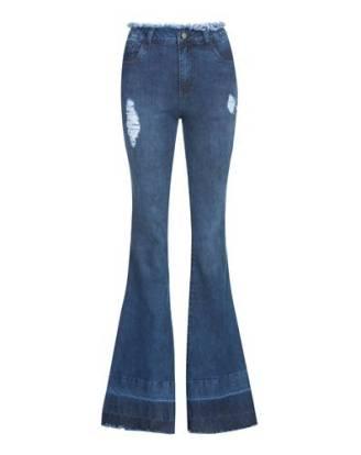 Calça jeans flare cós desfiado de R$179,90 por R$129,90