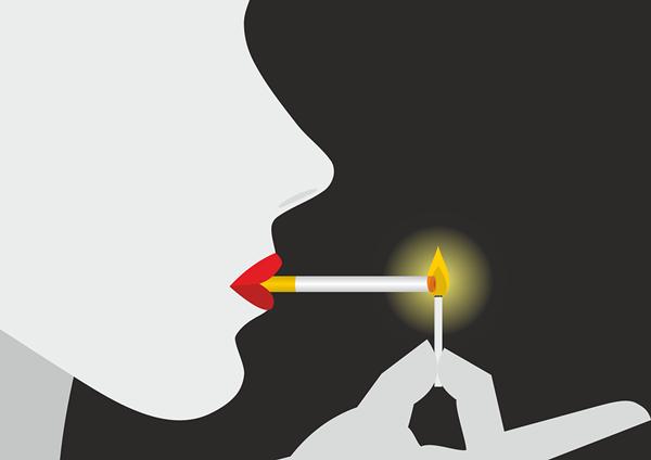 mulher fumando desenho pixabay