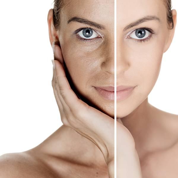 pele peeling rosto mulher