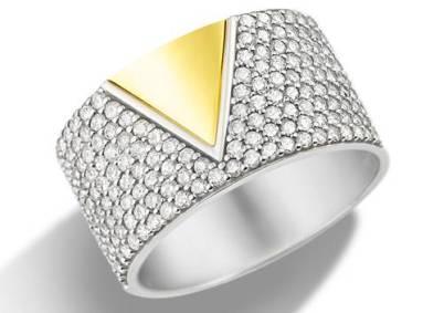 Vivara - Anel Ouro Amarelo Ouro Branco com Diamantes R$7.590,00