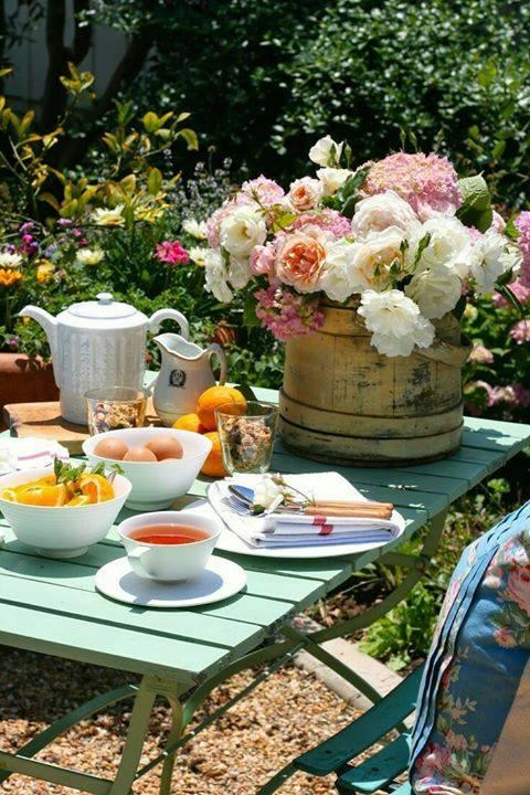 comida jardim chá café