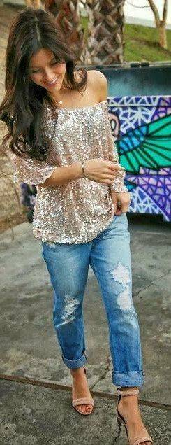 prateado e jeans
