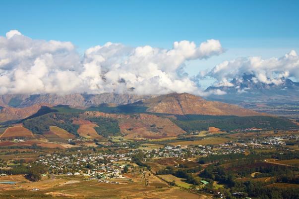 Horizonte de Franchhoek, na África do Sul