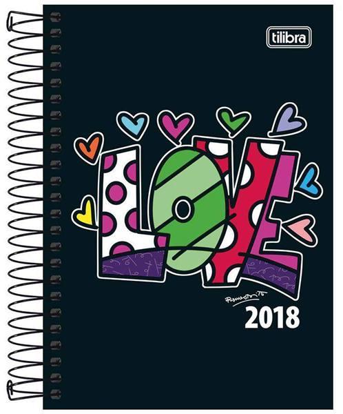 Shoptime_Agenda 2018 Romero Britto M5 Espiral Love Tilibra