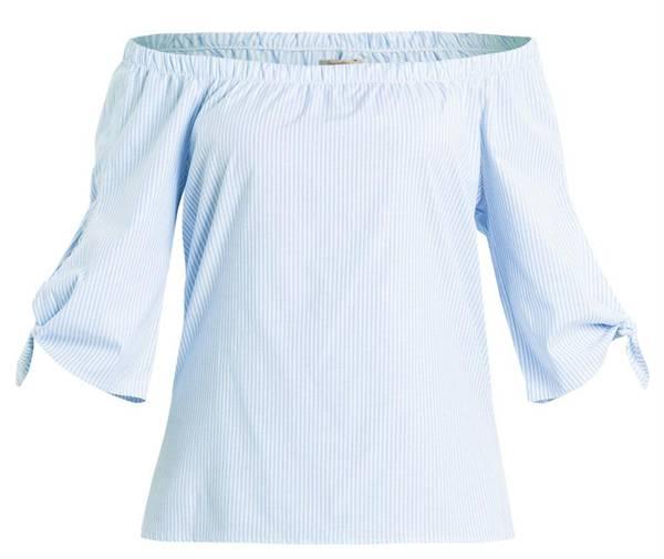 Blusa Decote Ombro a Ombro e Amarração Listrada na POSTHAUS de R$119,99 por R$79,99