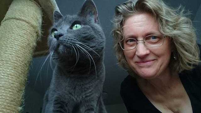mulher com gato cinza azul lisvnorrland pixabay
