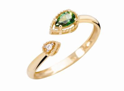 Coleção Believe - Anel maior em Ouro amarelo com Diamante e Topázio verde