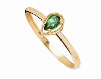 Coleção Believe - Anel menor em Ouro amarelo com Diamante e Topázio verde