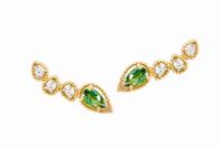 Coleção Believe - Brinco maior em Ouro amarelo com Diamante e Topázio verde