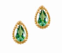 Coleção Believe - Brinco menor em Ouro amarelo com Diamante e Topázio verde
