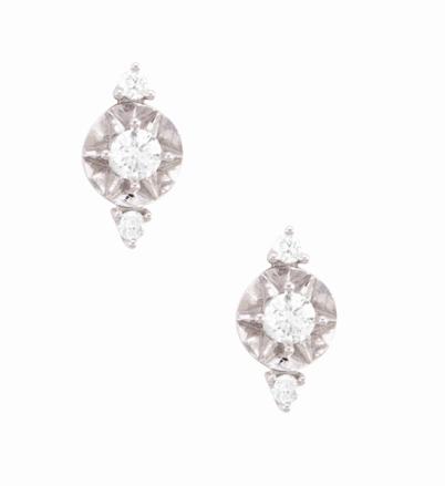 Coleção Shine - Brinco medio em ouro branco e Diamantes