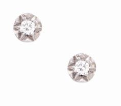 Coleção Shine - Brinco menor em ouro branco e Diamantes