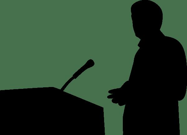 silueta homem falando publico palestra pixabay
