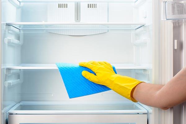 mulher limpando geladeira 2