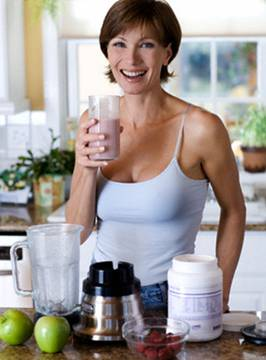 Woman Drinking Fruit and Protein Shake