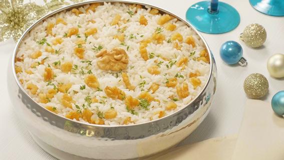 arroz com champanhe