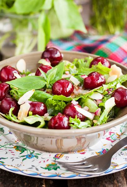 Green Salad With Fresh Cherries