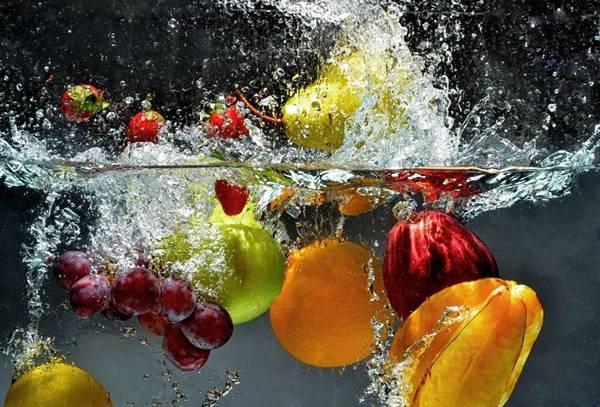 frutas na agua, limpeza
