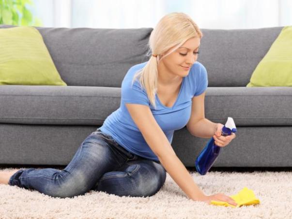 mulher limpando tapete diy network