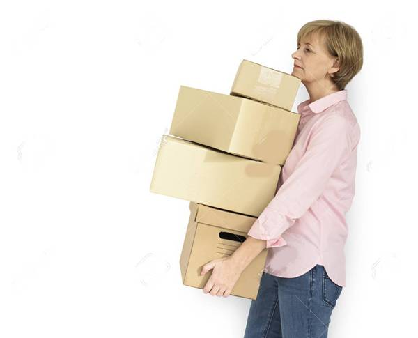 Senior Adult Woman Carrying Box Parcel Package