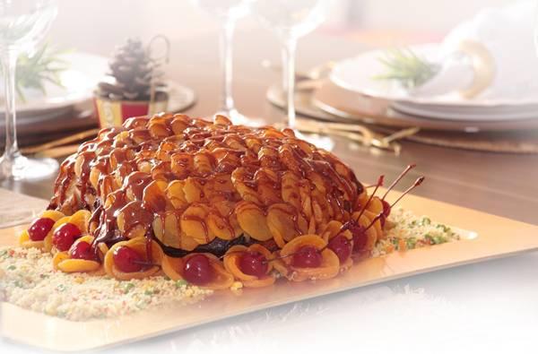 Pernil de porco com escamas de damascos caramelizados