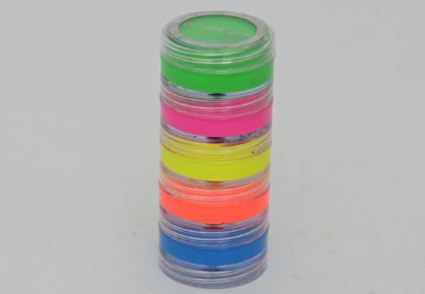 Armarinhos Fernando - Maquiagem Flúor - ColorMake - cores cítricas que brilham na luz negra - 5 potes com 4g cada - R$ 8,90