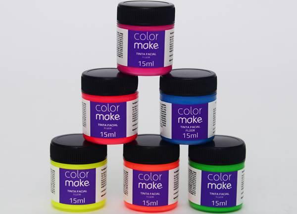 Armarinhos Fernando - Tinta líquida facial e corporal Flúor - ColorMake - cores que brilham na luz negra - 6 potes com 15 ml + 1 pincel - R$ 16,50