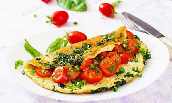 omelete espinafre tomate envato elements