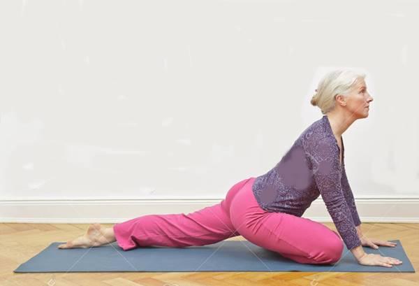 Senior woman yoga copy space