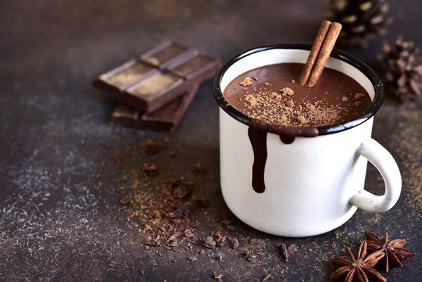 Homemade spicy hot chocolate with cinnamon