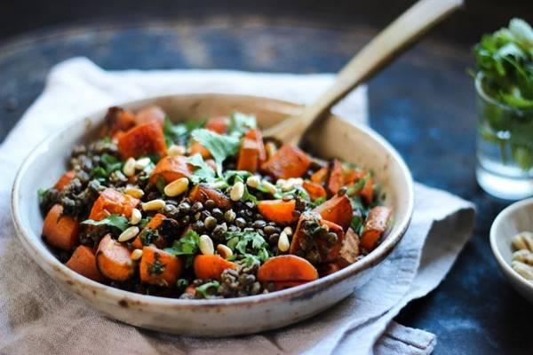 salada de lentilhas e cenoura assada