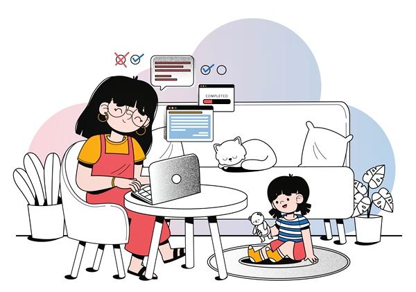 mulher casa home office